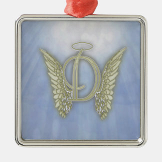 Letter D Angel Monogram Silver-Colored Square Decoration
