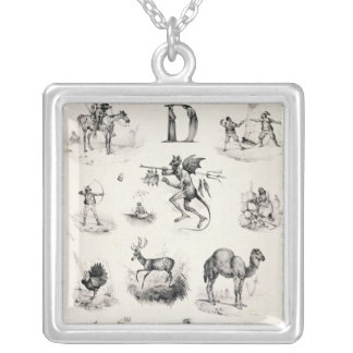 Letter D from an alphabet primer, 1832 Silver Plated Necklace