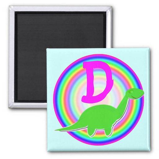 Letter D Green Dinosaur Diplodocus Fridge Magnet
