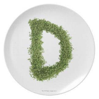 Letter 'D' in cress on white background, Plate