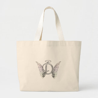 Letter D Initial Monogram with Angel Wings Halo Tote Bags