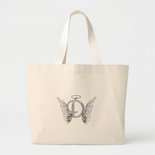 Letter D Initial Monogram with Angel Wings & Halo Tote Bags
