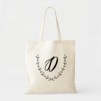 Letter D & Laurel Wreath Tote Bag