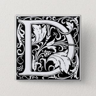 Letter D Medieval Monogram Vintage Initial 15 Cm Square Badge