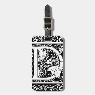 Letter D Medieval Monogram Vintage Initial Bag Tag