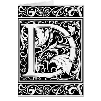Letter D Medieval Monogram Vintage Initial Greeting Card