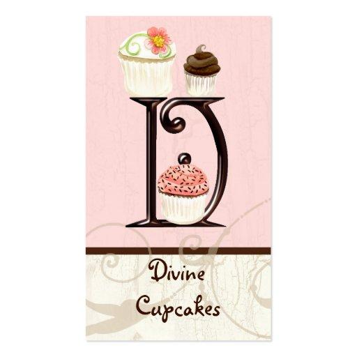 Letter D Monogram Dessert Bakery Business Cards