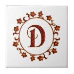 Letter D Monogram Red Leaves