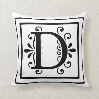 Letter D Monogram Throw Pillow
