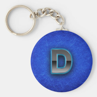Letter D - neon blue edition Basic Round Button Key Ring