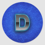 Letter D - neon blue edition Round Stickers