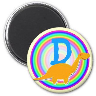 Letter D Orange Dinosaur Diplodocus Fridge Magnet