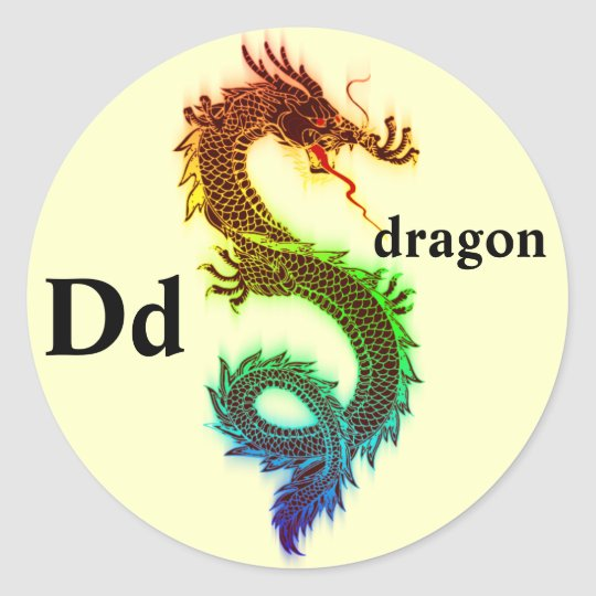 Letter D rainbow dragon Stickers