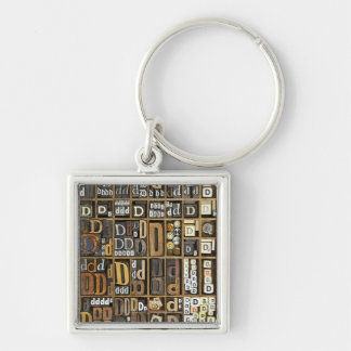 Letter D Silver-Colored Square Key Ring