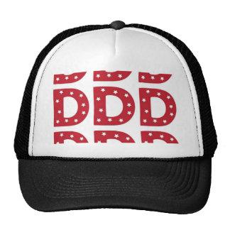 Letter D - White Stars on Dark Red Cap