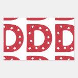 Letter D - White Stars on Dark Red Rectangle Sticker