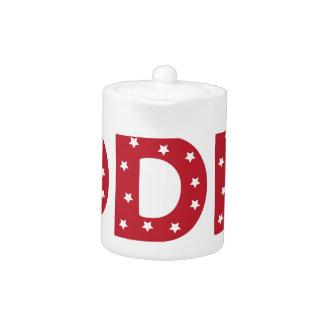 Letter D - White Stars on Dark Red