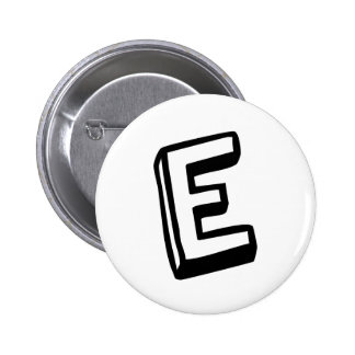 Letter E 6 Cm Round Badge