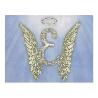Letter E Angel Monogram Postcard