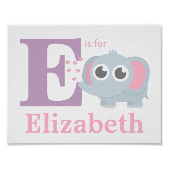 Letter E Baby Elephant With Love Girls Room