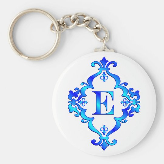 Letter E Blue Basic Round Button Key Ring