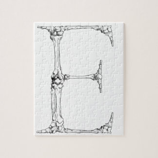 Letter E Bone Initial Jigsaw Puzzle