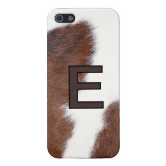 Letter E Branding on Cowhide Iphone 5 Case