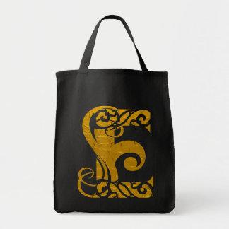 Letter E Gold - Square Button Bag