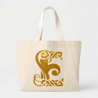 Letter E Gold - Square Button Tote Bag