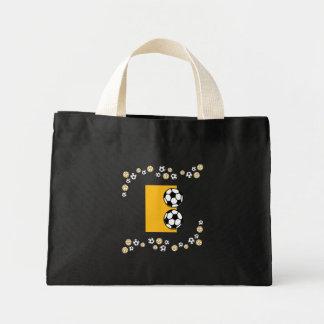 Letter E in Soccer Gold Monogram Tote Canvas Bag