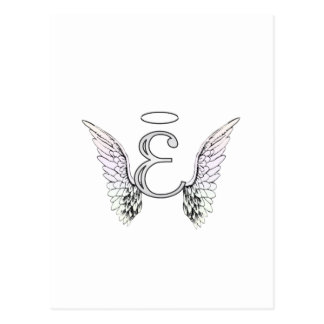 Letter E Initial Monogram with Angel Wings & Halo Postcard