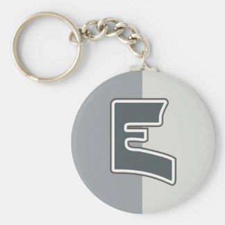 Letter E Basic Round Button Key Ring