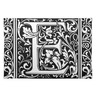 Letter E Medieval Monogram Vintage Initial Placemat