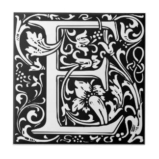 Letter E Medieval Monogram Vintage Initial Tile