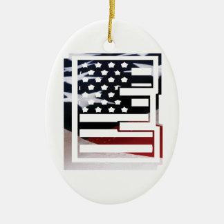 Letter E Monogram Initial USA Flag Pattern Christmas Ornament