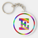 Letter E Rainbow Basic Round Button Key Ring