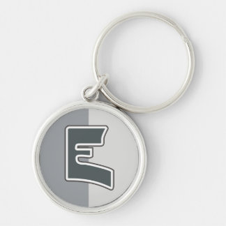 Letter E Silver-Colored Round Key Ring