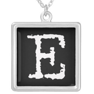 Letter E Square Pendant Necklace
