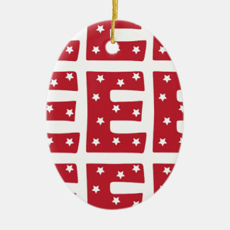 Letter E - White Stars on Dark Red Ceramic Oval Decoration