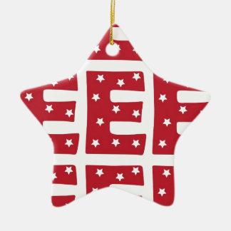 Letter E - White Stars on Dark Red Christmas Ornament