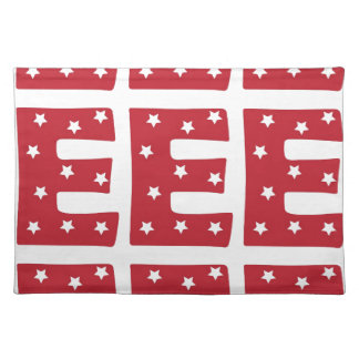 Letter E - White Stars on Dark Red Placemats