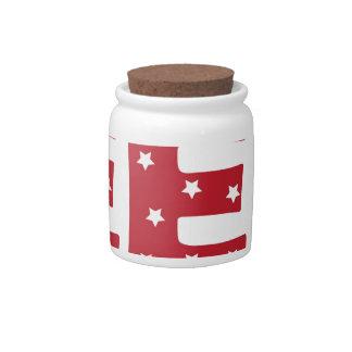 Letter E - White Stars on Dark Red Candy Jar