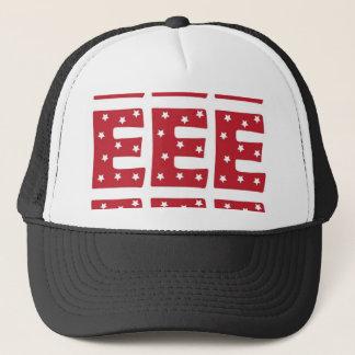 Letter E - White Stars on Dark Red Trucker Hat