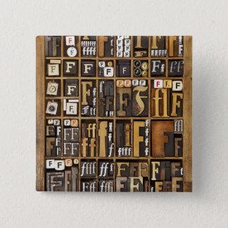 Letter F 15 Cm Square Badge