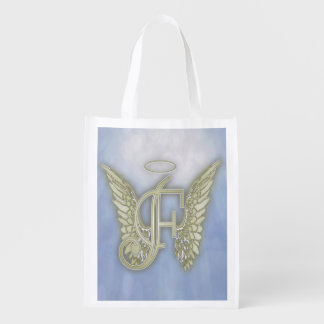 Letter F Angel Monogram Reusable Grocery Bag