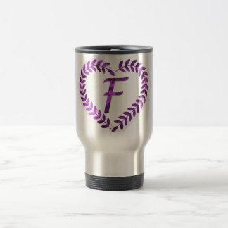Letter F Camo with Purple  - Camo Alphabet Travel Mug