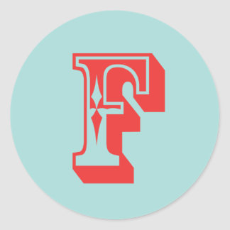 Letter F carnival style monogram initial favour Round Sticker