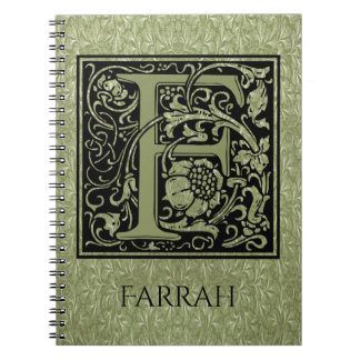 Letter F First Letter Monogram Note Book