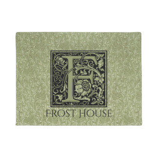 Letter F First Letter Monogram Personalized Doormat