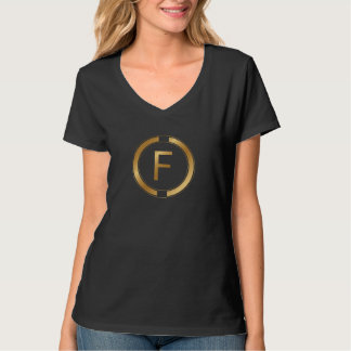 Letter F in a luxury gold design T-Shirt